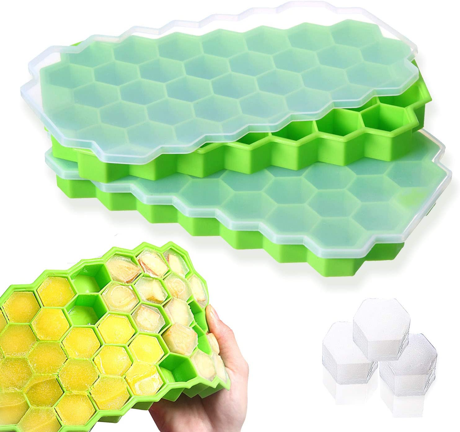 Ice Cube Trays Silicone Molds with Lids Small Ice Cube Molds for Drilled Drinks Whiskeys Cocktails Food Grade BPA free Cubes(2 Pack)