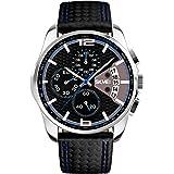 VOEONS Herren Sport Armbanduhr Leder Analog Quarz Kalender Chronograph 5ATM wasserdicht 9106