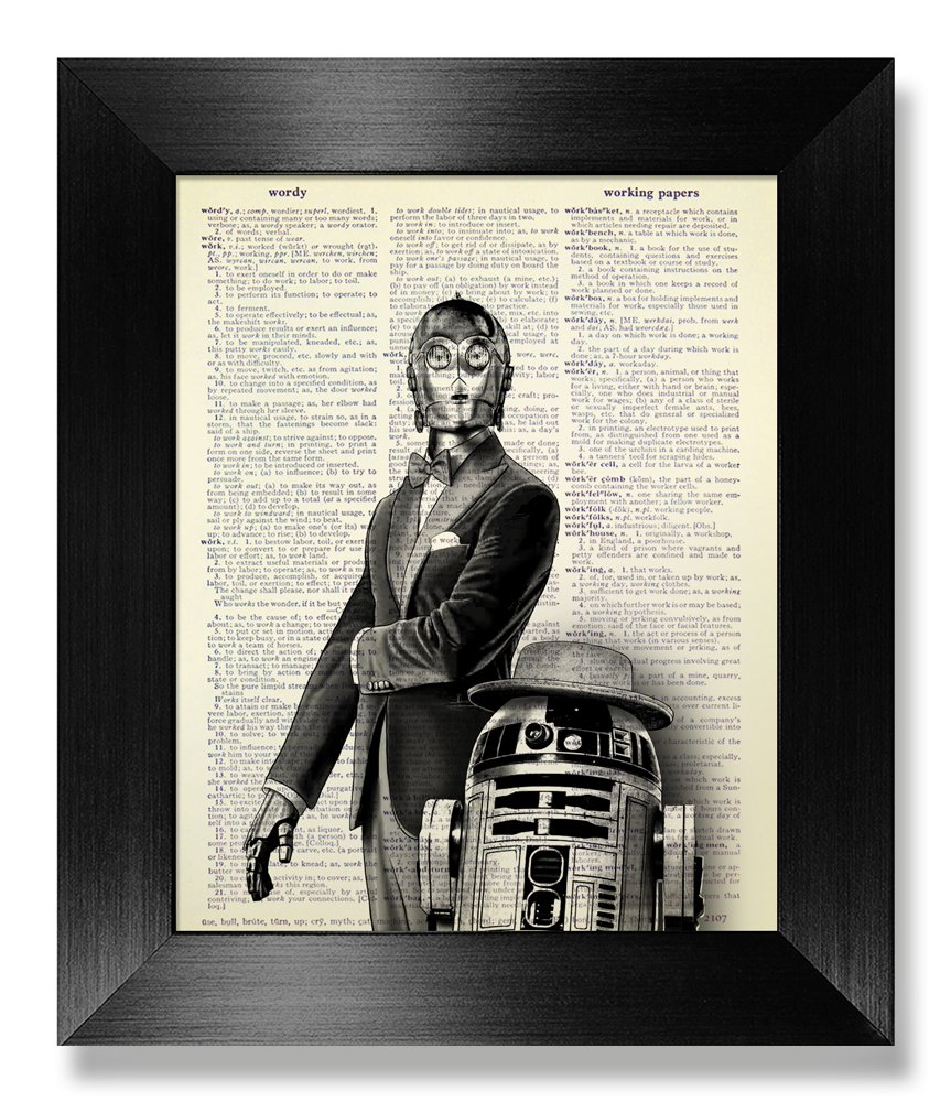 R2D2 & C3PO Movie Poster Star Wars Art Print, Funny Office Gift for Man Coworker Husband Boyfriend Him, Cool Office Stuff, Funny Office Poster Wall Decor, Sci Fi