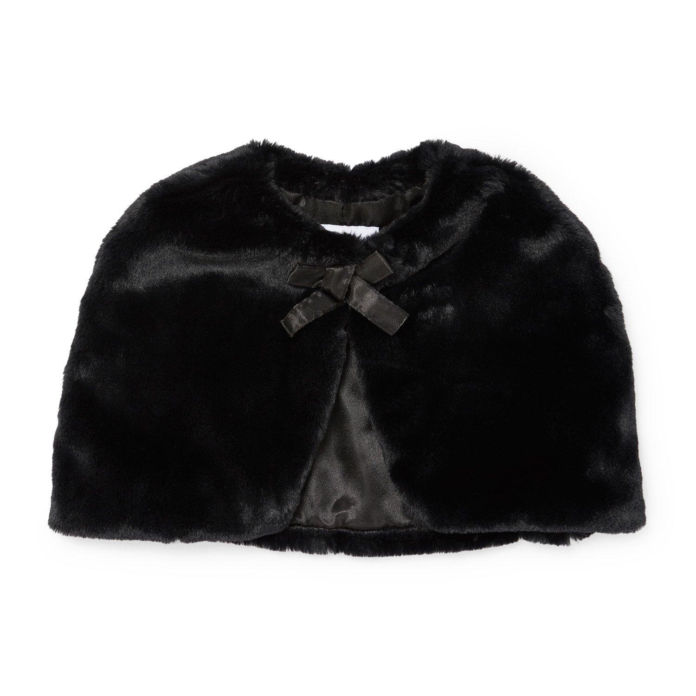 The Children's Place Big Girls Faux Fur Cape, Black, XL (14)