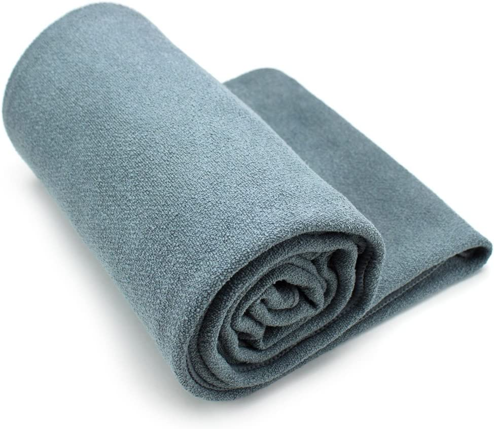 Crown Sporting Goods Non-Slip Microfiber Hot Yoga Towel with Carry Bag (Gray)
