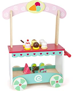 Small Foot 11065 Wooden Cart, on Movable Wheels, with 12 Different Types, Waffle