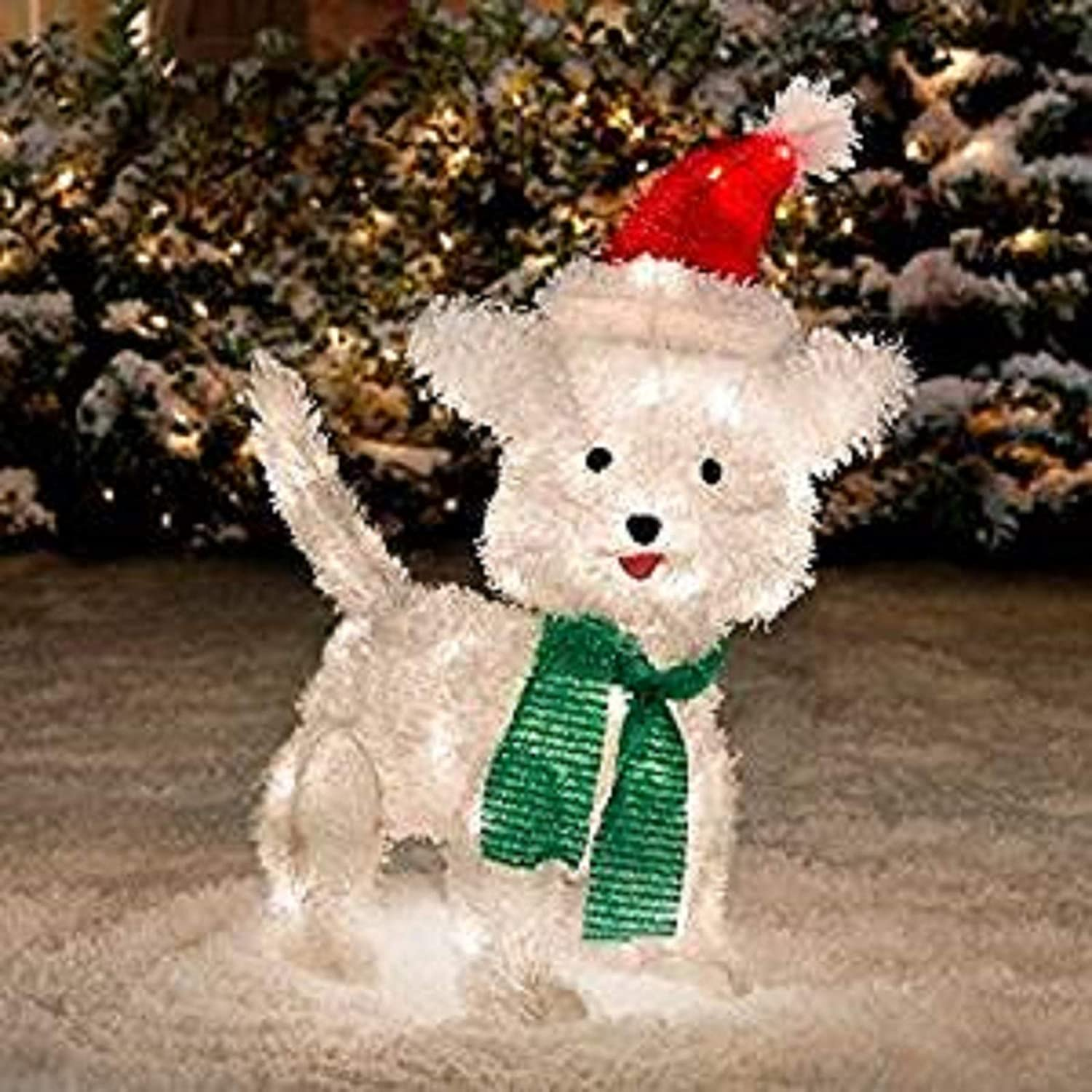 """Amazon Improvements 22"""" Tall Lighted Tinsel Dog Outdoor"""