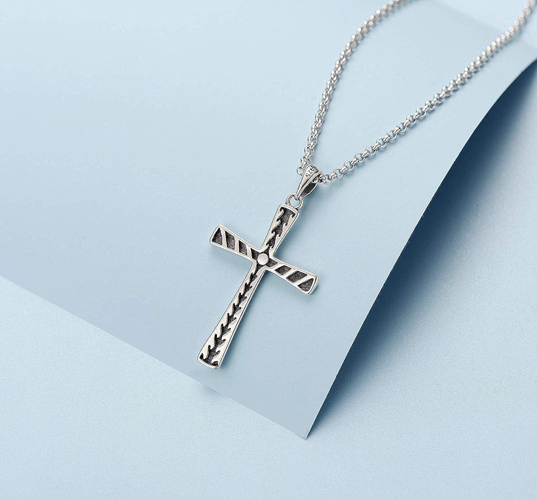 Longueur 51 cm Collier Homme avec Pendentif Croix en Argent sterling 925 Cha/îne pour Hommes