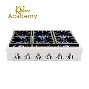 Kitchen Academy 36''Stainless Steel Gas Cooktop Rangetop with 6 Sealed Burners
