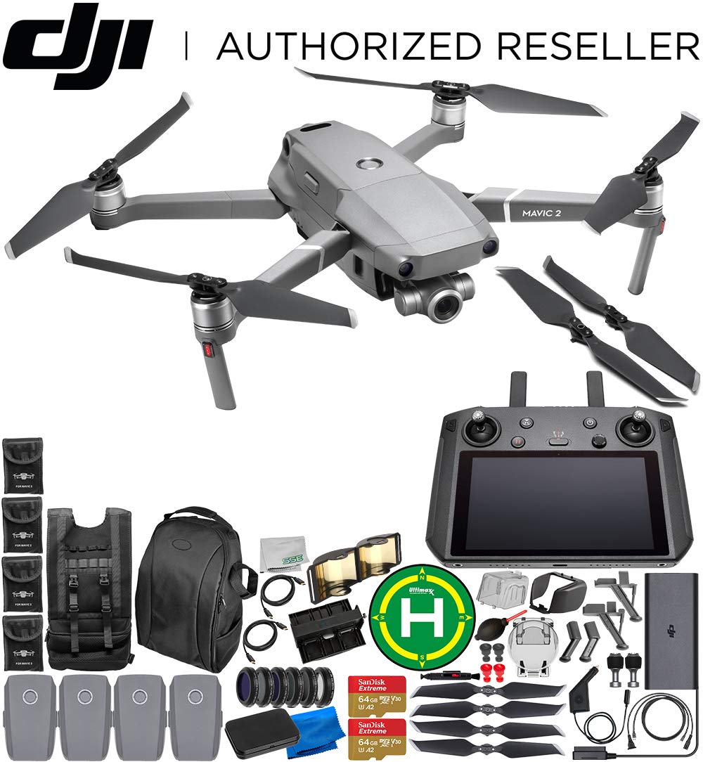 DJI Mavic 2 Zoom Drone Quadcopter with 24-48mm Optical Zoom Camera with Smart Controller Ultimate 4-Battery Bundle 2