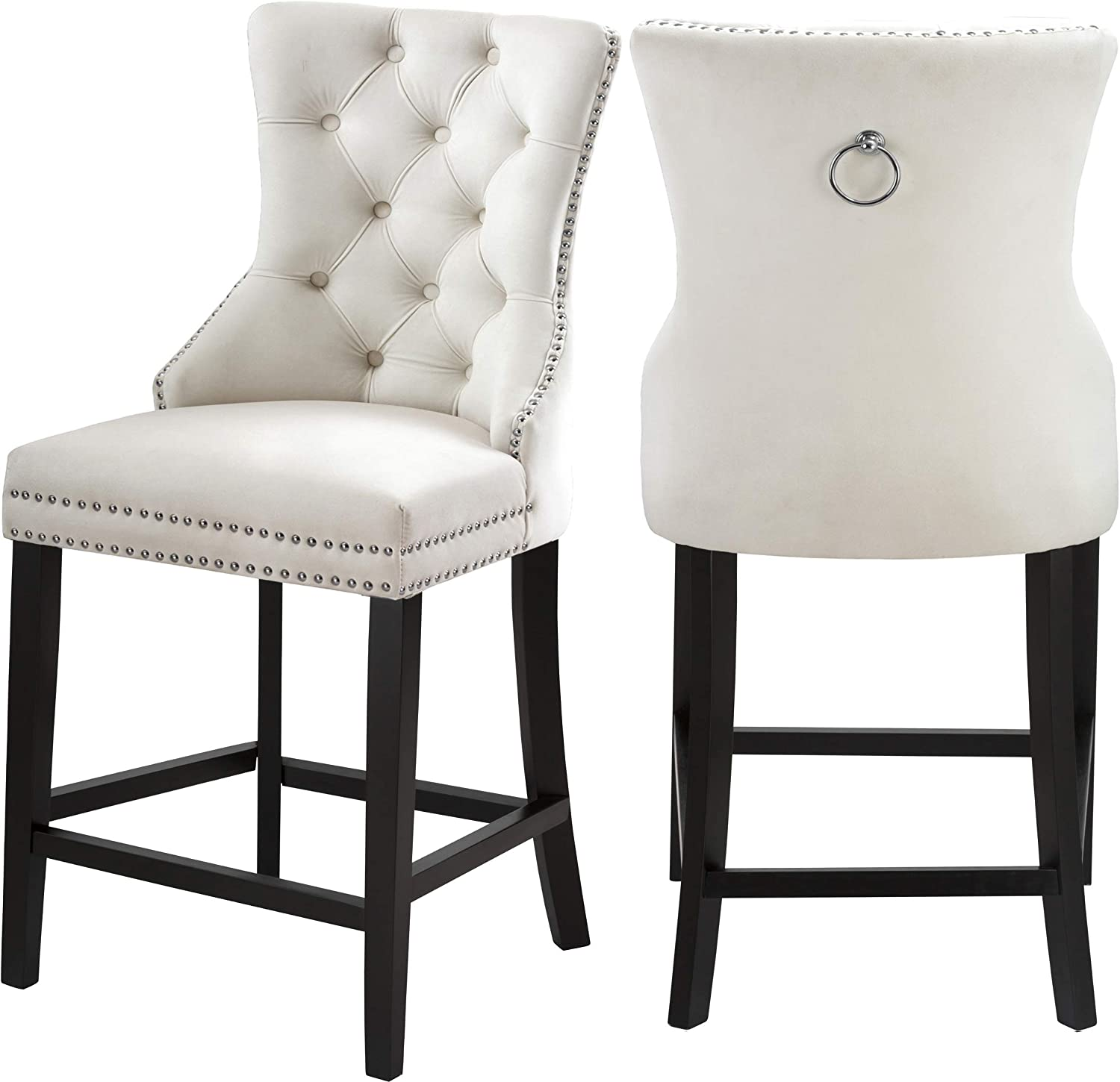 "Meridian Furniture Nikki Collection Modern | Contemporary Cream Velvet Upholstered Counter Stool Wood Legs, Button Tufting, and Chrome Nailhead Trim, Set of 2, 21"" W x 23"" D x 42"" H, Cream"
