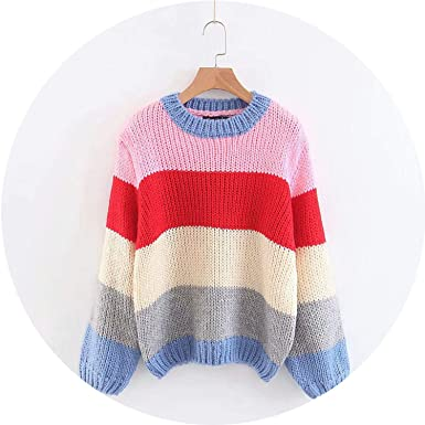 O Neck Rainbow Mohair Sweater Women Casual Loose Style Pullover Winter Jumper LMM79,Pink,