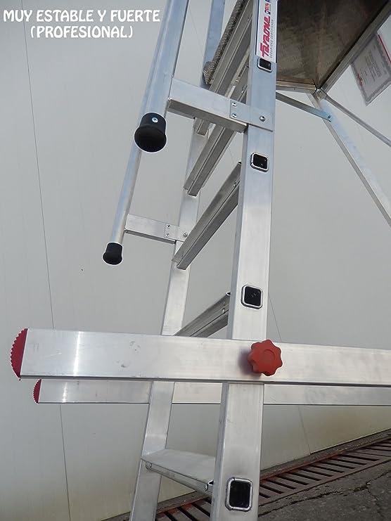 Escalera de aluminio con ruedas para almacen. (6 peldaños): Amazon.es: Bricolaje y herramientas