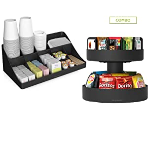 Mind Reader SNACOMORG-BLK Coffee Condiment and Snack Organizer, Home, Office, Breakroom, 2 Pack, Black