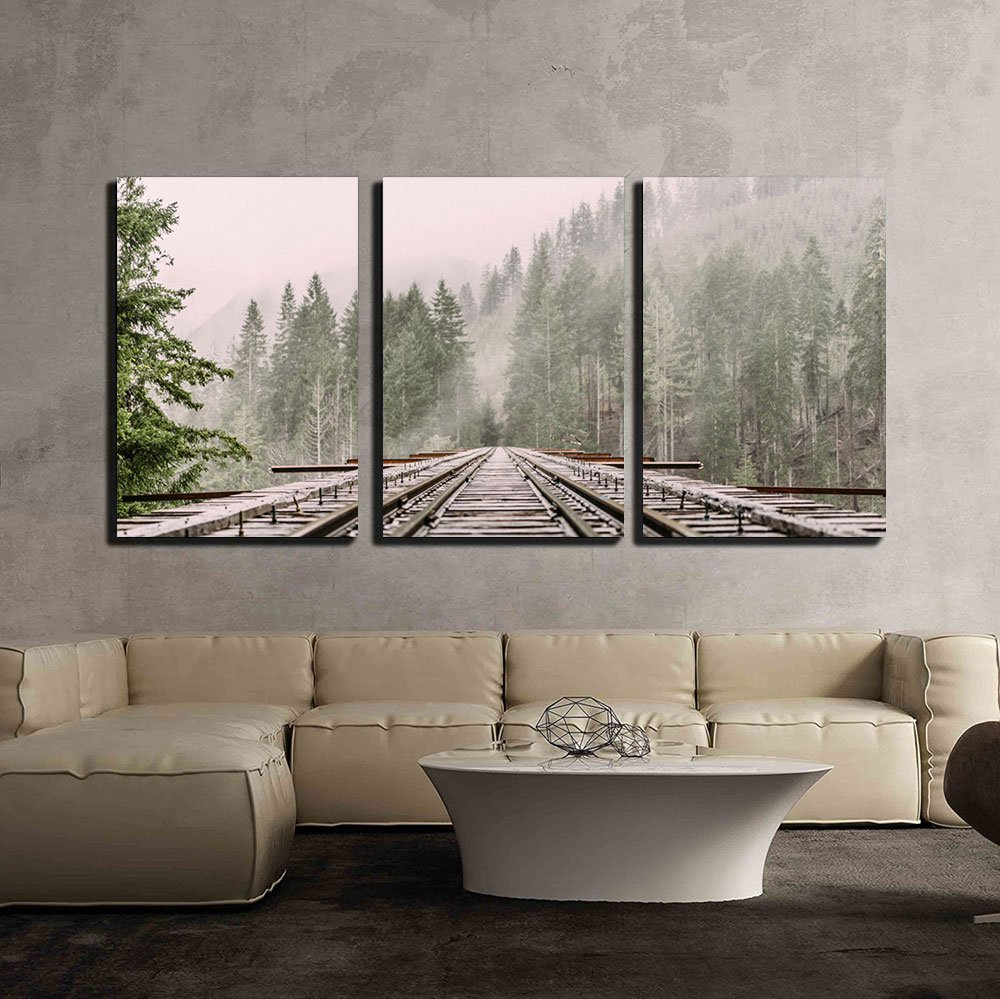 wall26 3 Piece Canvas Wall Art - Railway Through the Pine Forest with Mist - Modern Home Decor Stretched and Framed Ready to Hang - 24''x36''x3 Panels