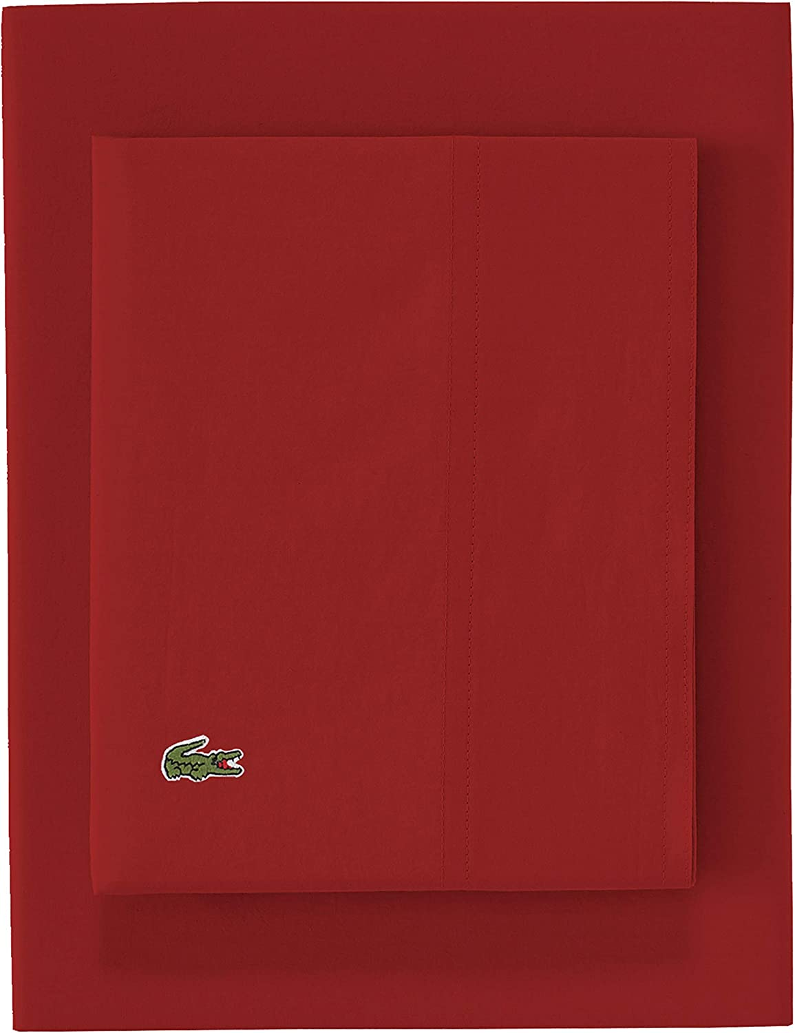 Lacoste Red Cotton Percale Bed Sheet