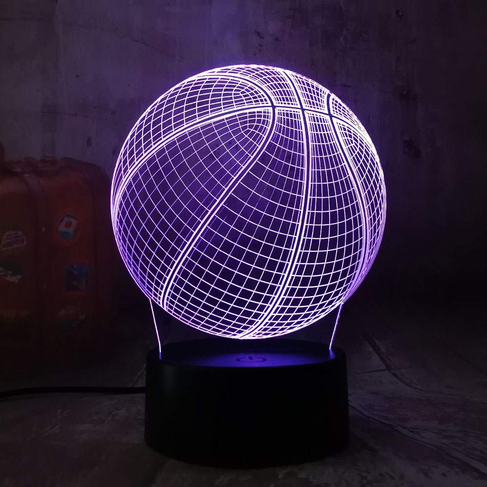 4 Pack, Cool 3D Basketball Sport Heimtextilien Led Illusion Touch Usb 7 Farbwechsel Lampe Schlafzimmer Nachtlicht Beste Kind Jungen Mann Geschenk, Weihnachtsgeschenk