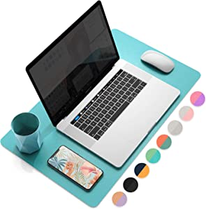"YSAGi Multifunctional Office Desk Pad, Ultra Thin Waterproof PU Leather Mouse Pad, Dual Use Desk Writing Mat for Office/Home (23.6"" x 13.7"", Calamine Blue+Cobalt Green)"