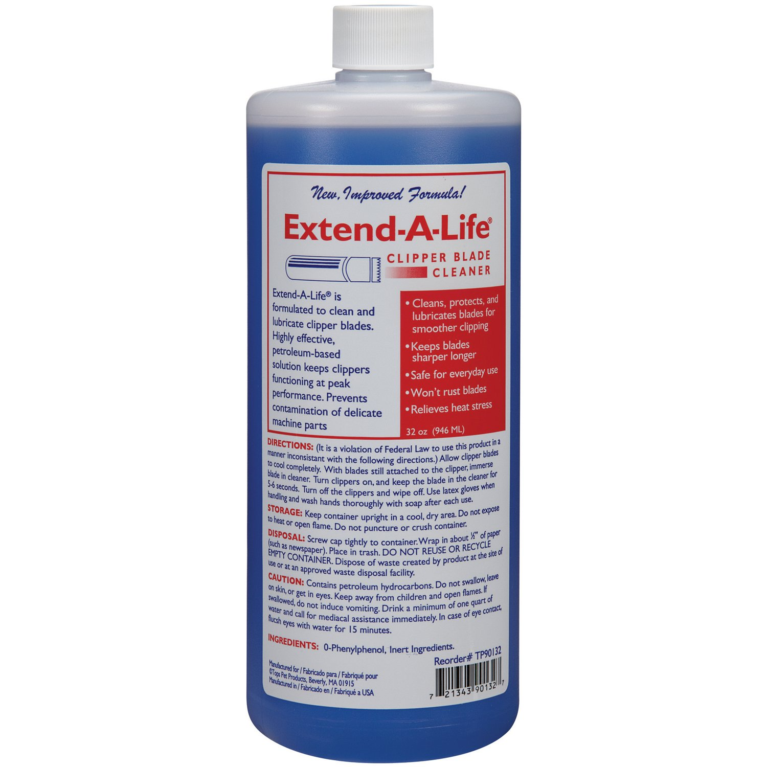 Top Performance Extend-A-Life Blade Rinses - Handy Cleaners for Dog-Grooming Clippers, 32oz