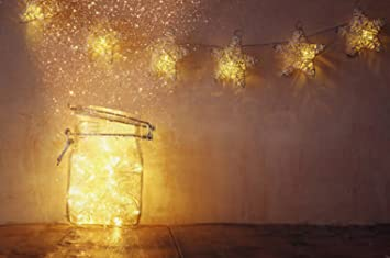 Baby Kids Photography Backdrops Vintage Fairy Lights in Jar Glitter Overlay Gold Stars Wall with Wood & Amazon.com : Baby Kids Photography Backdrops Vintage Fairy Lights in ...