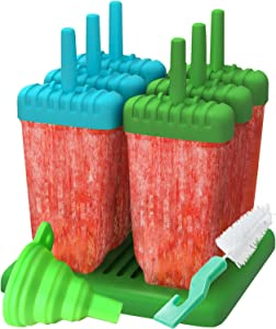 Popsicle Molds, Ozera Set of 6 Ice Pop Molds Maker, Popsicle Trays - With Silicone Funnel & Cleaning Brush - Assorted Colors (Green & Blue)