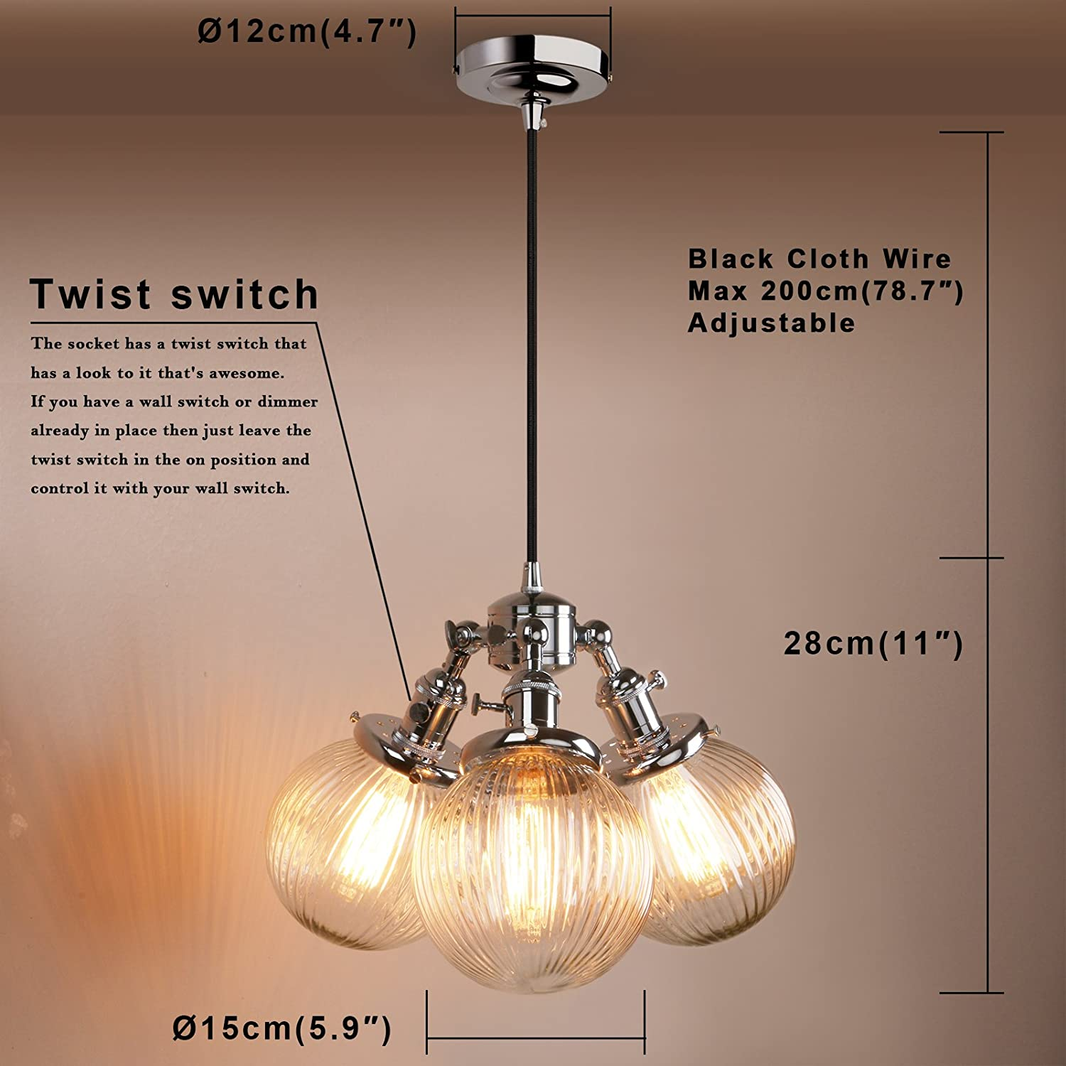 Pathson Industrial Modern Vintage Loft Bar 3 Lights Pendant Ceiling Wire That Is In The From Switch Now To Rose Multi Island Dining Room Bedroom Hanging Chrome Light Fittings Chandelier