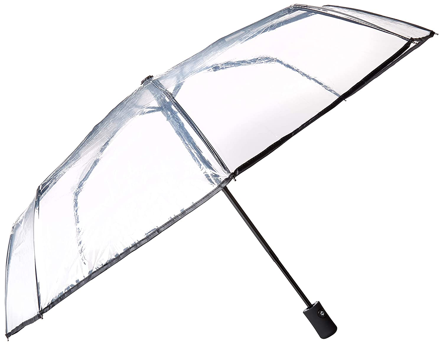 8f25c81edd4aa Amazon.com: HappyGo Full Automatic Folding Transparent Clear Auto Open  Travel Umbrella for Women Girls Black 8 ribs: HappyGO-Global