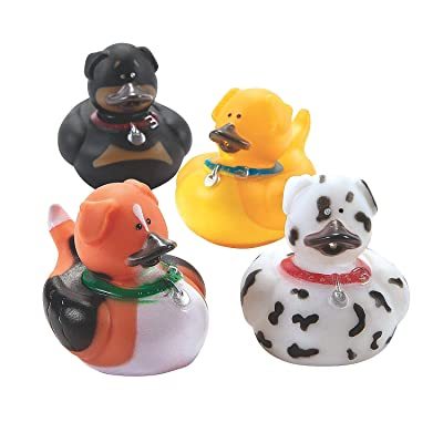 Fun Express Dog Rubber Duckies - Toys - 12 Pieces : Bathtub Toys : Baby