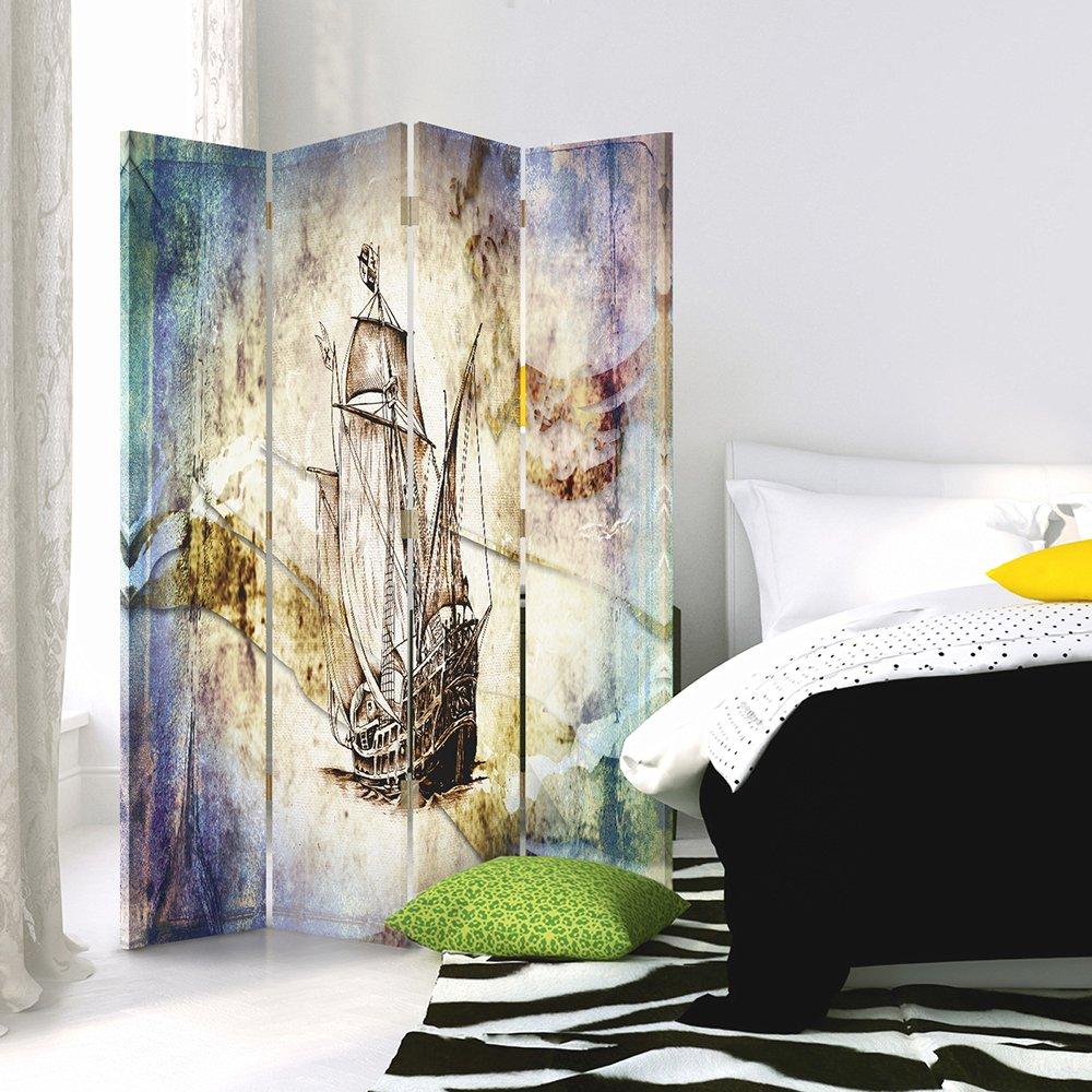 a 3 Parti 360/° bilaterale Blu Barca A Vela Vintage Marine 110x150 cm Giallo Chiaro, Disegno Feeby Frames Il paravento Stampato su Telo,Il divisorio Decorativo per Locali