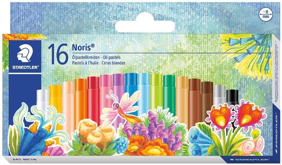 Staedtler Noris Club 241 NC16. Lápices de cera para colorear. Caja con 16 ceras de colores variados.: Amazon.es: Oficina y papelería