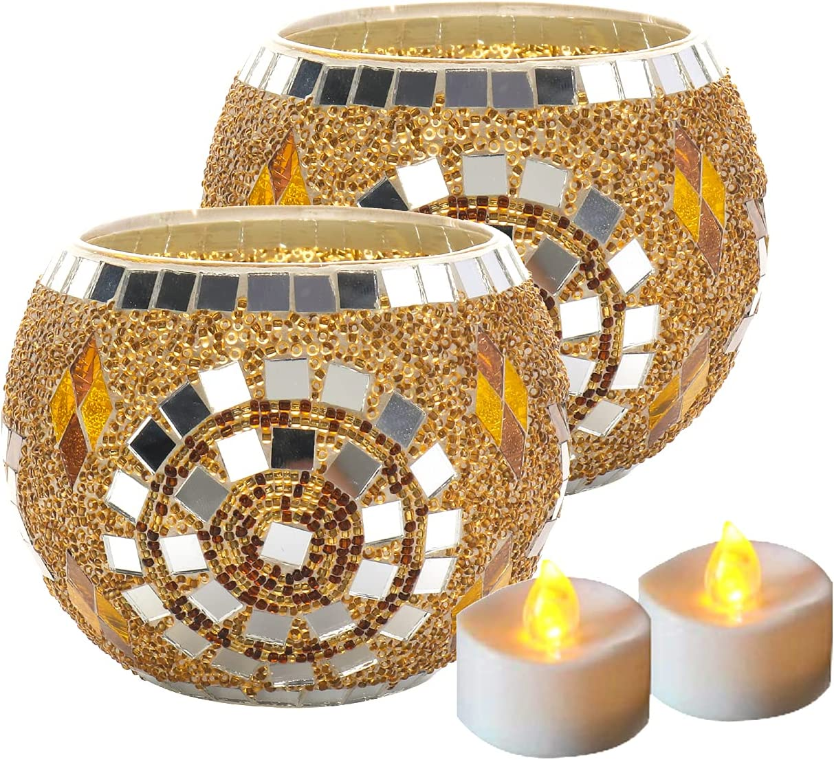 Votive Candle Holder Centerpiece, Mosaic Glass Tealight Holders for Home Decor, Table, Party Decorations, Handmade Gifts for Her, Vase for Potted Plants Bowl, Set of 2 (Golden Fairy)