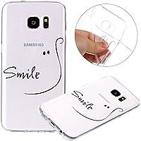 Surakey Compatible avec Coque Galaxy S7 Edge Étui Galaxy S7 Edge Transparent Souple Antichoc Bumper Case TPU Silicone Housse Etui Crystal Coque pour Samsung Galaxy S7 Edge,Smile