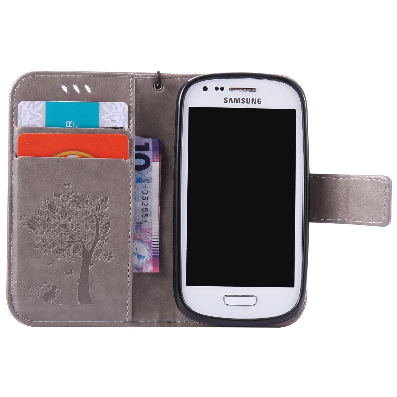 8482728b2b8 EMAXELERS Funda Samsung S3 Mini Premium PU Cuero Cartera para Tarjetas y Cierre  Magnetico Soporte Plegable Delgada Funda Protectora para Samsung Galaxy S3  ...