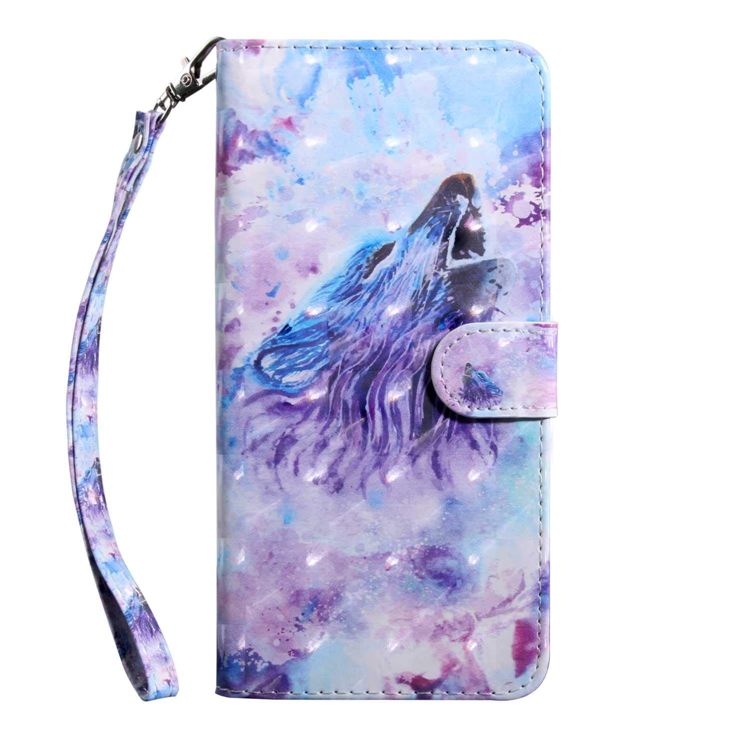 Xiaomi MI 5X Case CUSKING Magnetic Wallet Case for Xiaomi MI 5X [Card Slot] [Hand Strap] [Flip Case] [Easy to Clean] Full Body Proective Case - Blue and Purple, Wolf