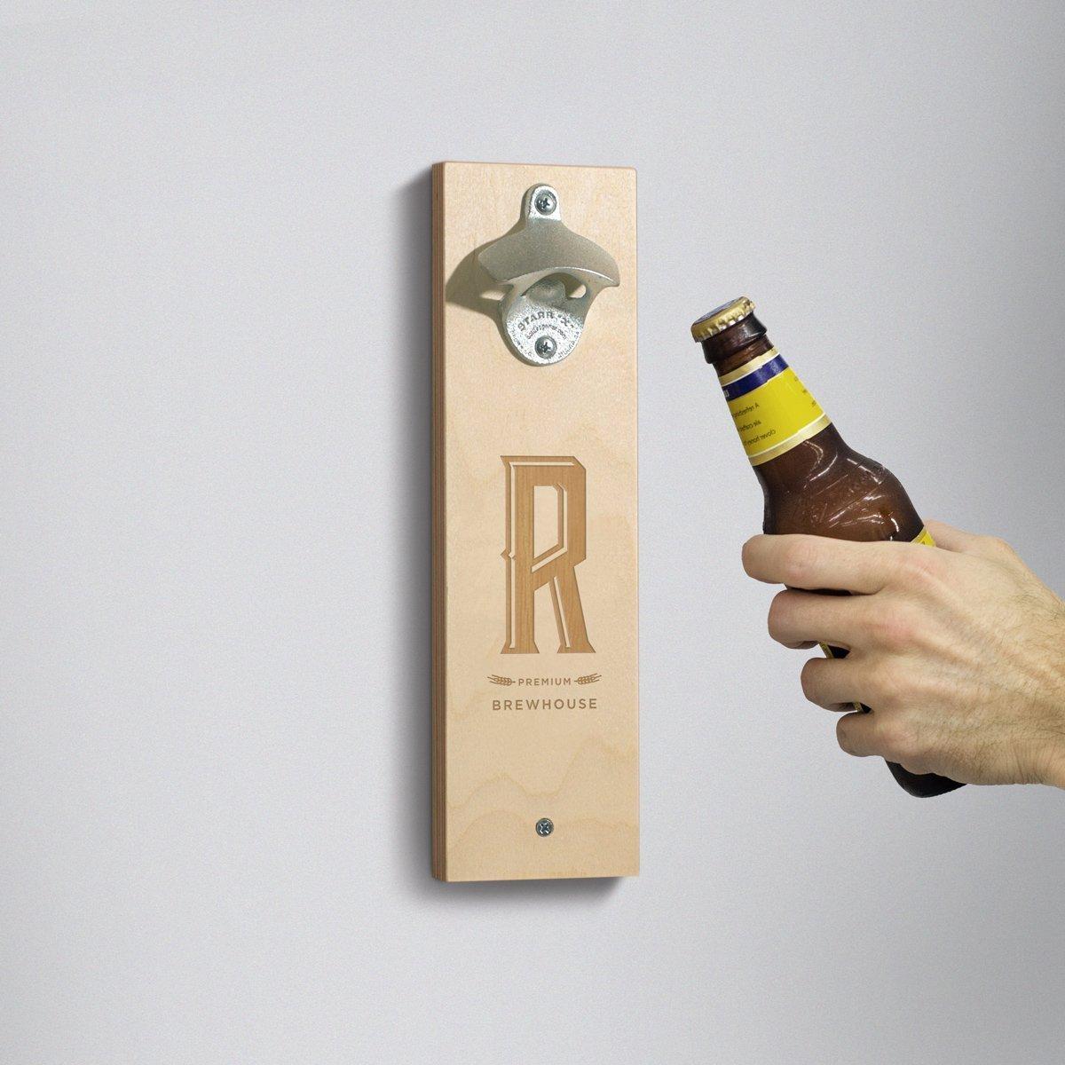 Amazon Com Personalized Wall Mounted Bottle Opener Monogram Industrial Gift For Him Gift For Beer Lovers Groomsman Gift Handmade