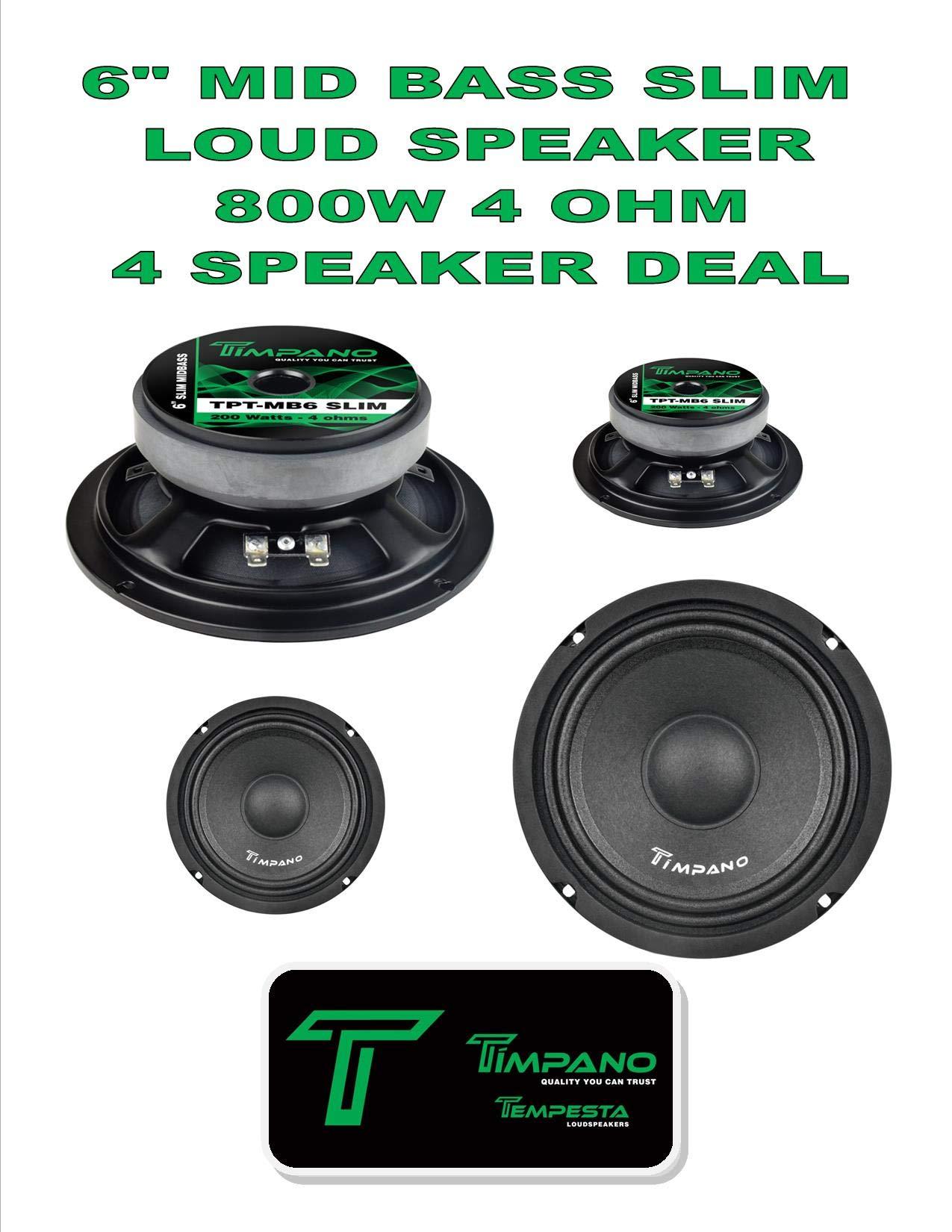 Timpano TPT-MB6 Slim 6'' 4 Ohm (800W Peak) 94 dB Slim Mid-Bass Loudspeaker 2 Pair