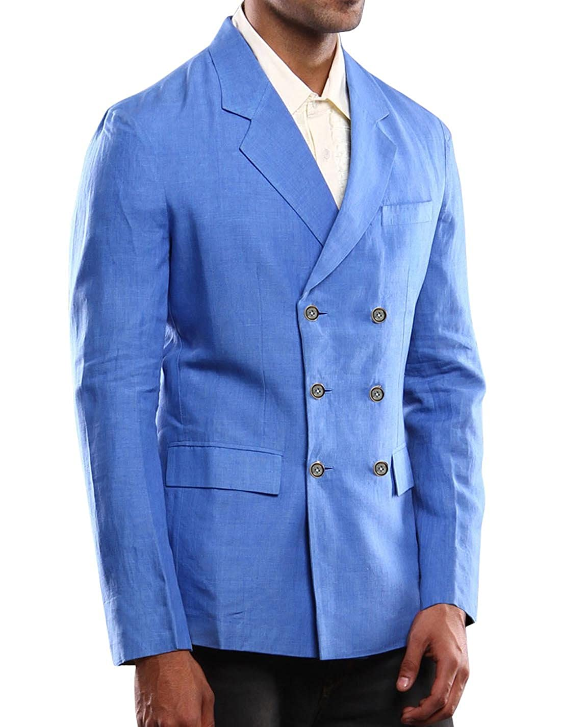 d2dd29c6cbe Bagtesh Fashion Mens Notched Lapel Double Breasted Linen Blazer Coat Jacket  MB120 at Amazon Men s Clothing store
