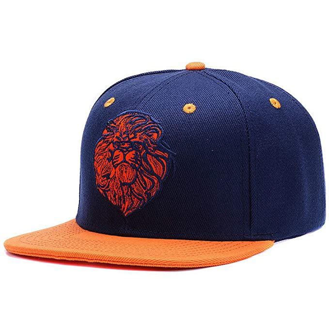 2c1270fda65 Amazon.com  Lion face Embroidery Snapback Cap Cool King Hip hop hat for Boys  and Girls  Clothing