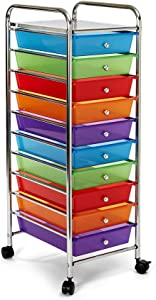 Seville Classics 10-Drawer Multipurpose Mobile Rolling Utility Storage Organizer Cart, Multicolor