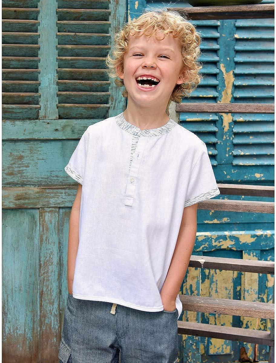 La Faute à Voltaire - Camisa de Lino para niños de 2 a 12 años de Manga Corta Blanco 6 Años: Amazon.es: Ropa y accesorios