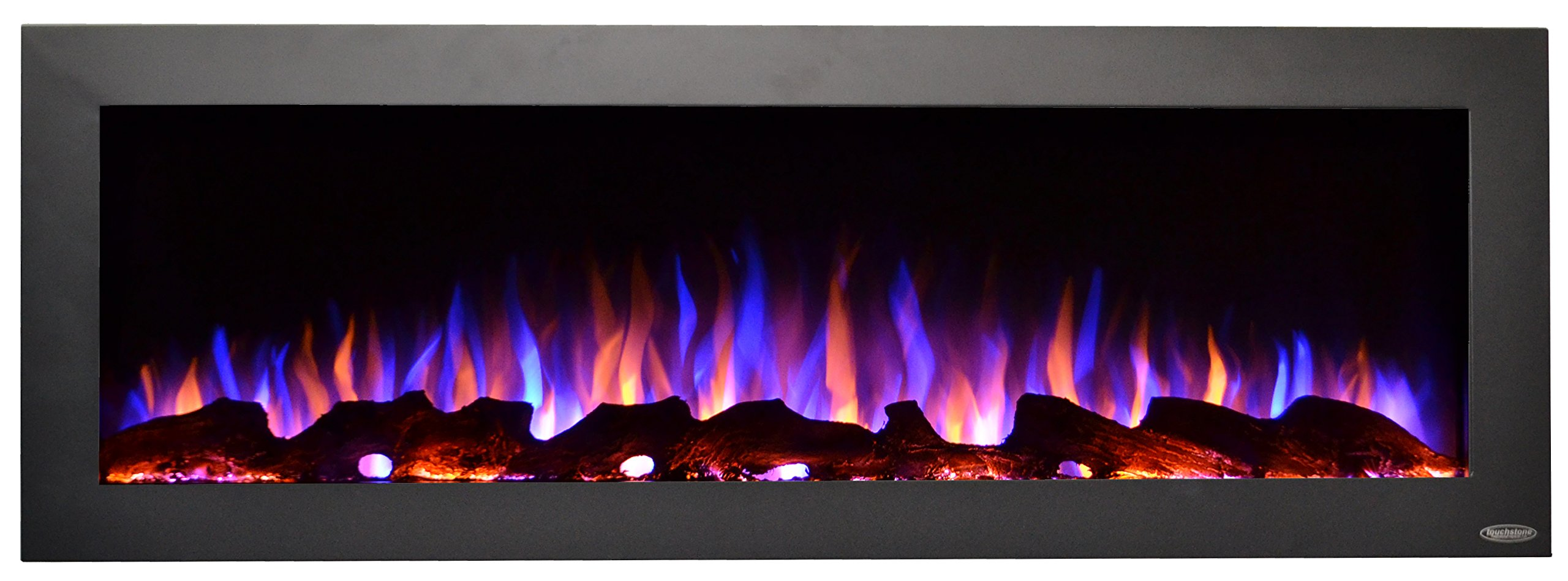 Touchstone 80017 - Indoor/Outdoor Sideline Electric Fireplace - GFI Plug for Outdoor Use - 50 Inch Wide - in Wall Recessed or Wall Mount - Realistic 3 Color Flame - No Heat - (Black) - Log & Crystal by Touchstone