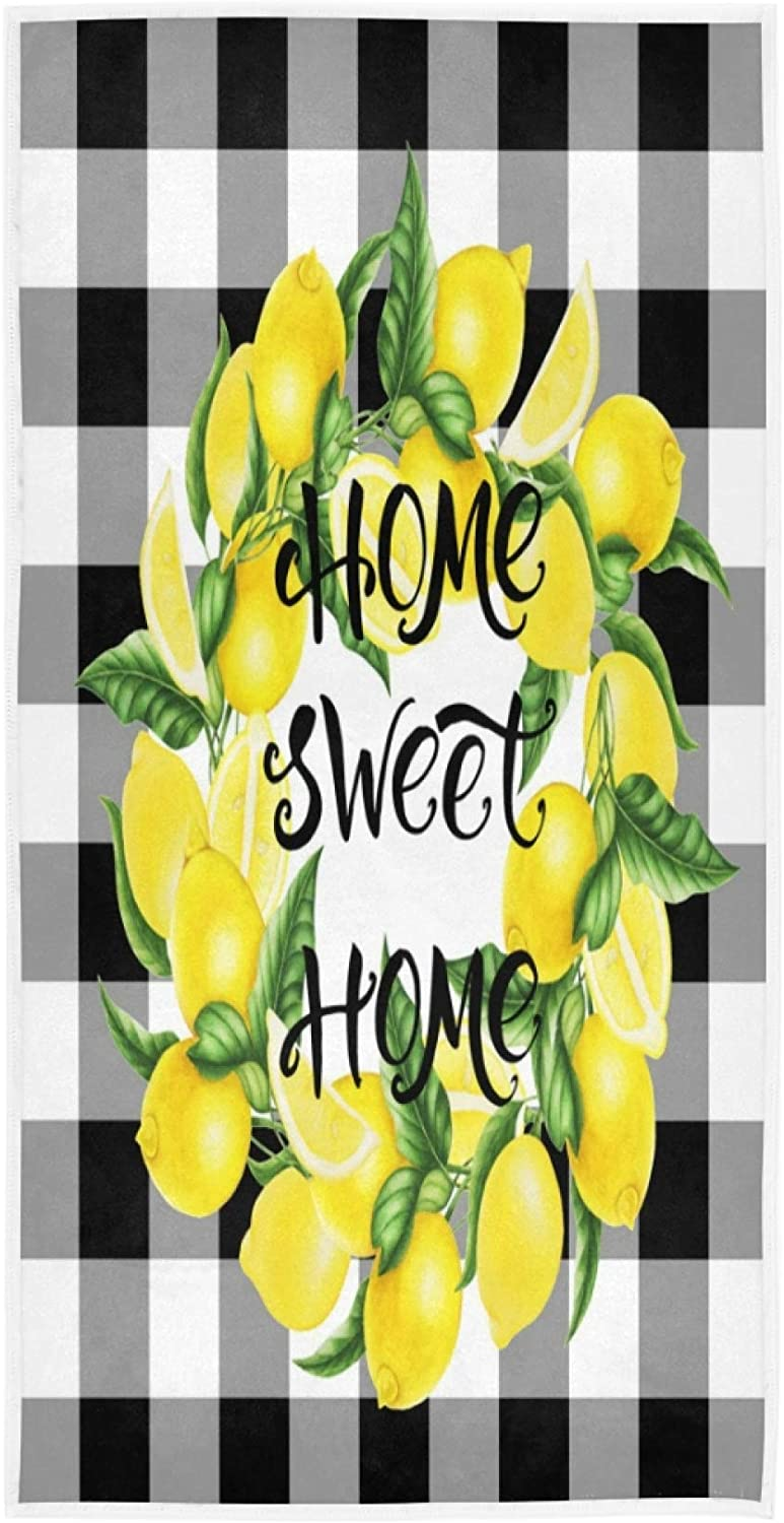 Hand Towel Black Plaid Yellow Lemon Home Sweet Large 30x15inch Ultra Soft Highly Absorbent Bath Towel Kitchen Dish Guest Towel Home Bathroom Decor