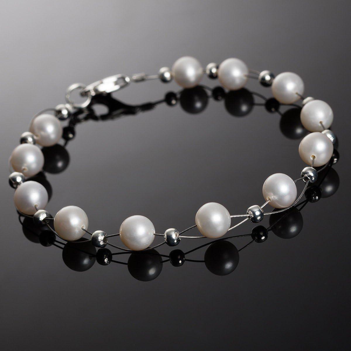 Perlenarmband elegant Armband aus echten Perlen Süßwasserperlen creme weiß