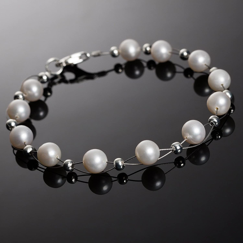 Perlenarmband  Armband aus Süßwasser Perlen Zuchtperlen creme weiß Perlenarmband ...