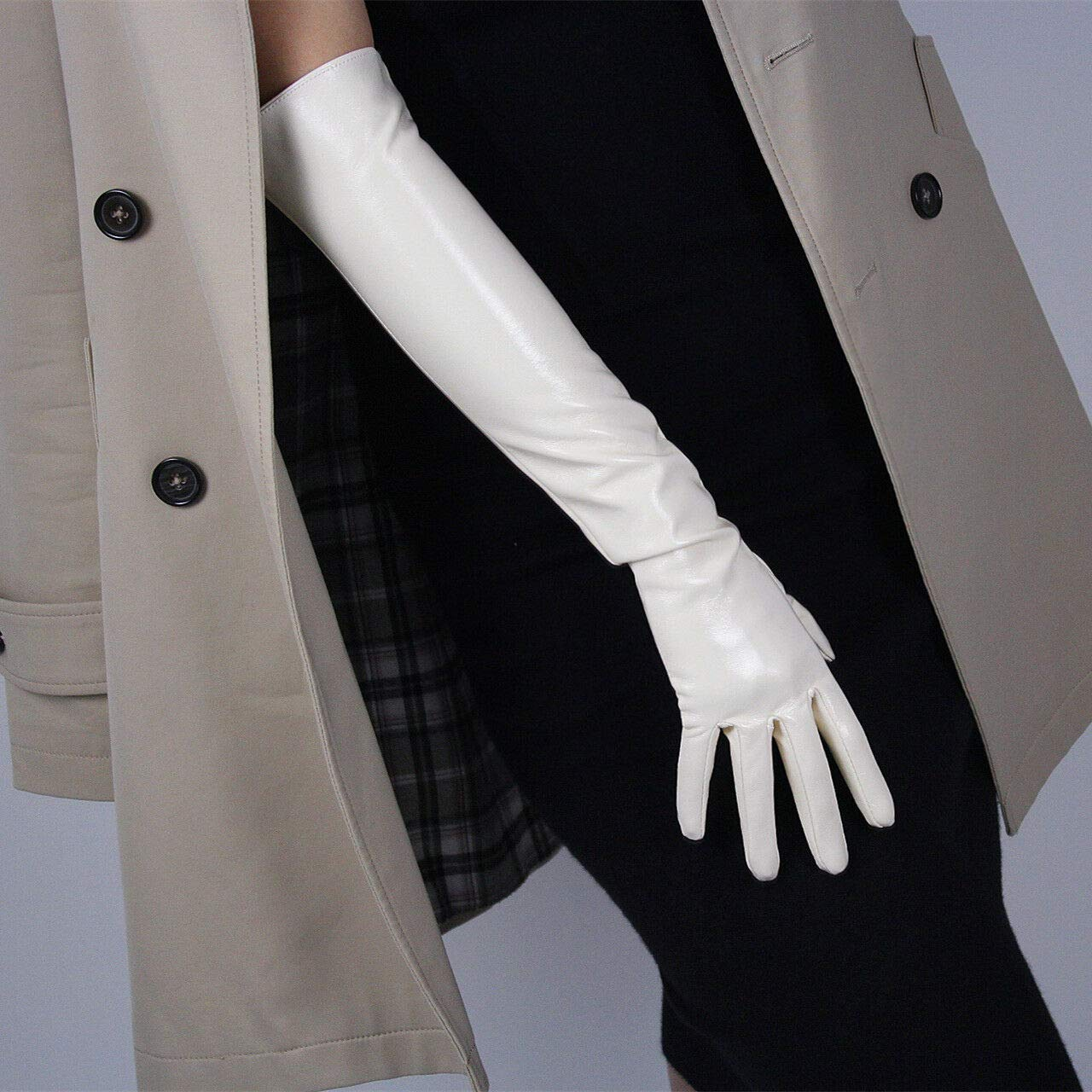 DooWay Latex Gloves Faux Leather PU SUPER LONG//ELBOW LENGTH//WRIST SHORT Womens Opera Evening Party Gloves Beige