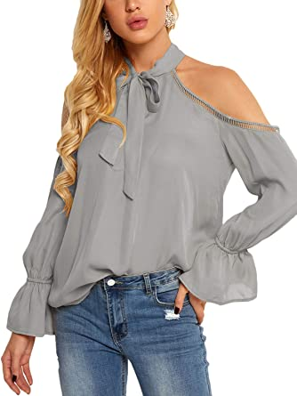 7870efc1abcb95 YOINS Women Blouse Leopard Cold Shoulder Long Bell Flared Sleeves Flouncy  Tops B-Gery XL  Amazon.co.uk  Clothing