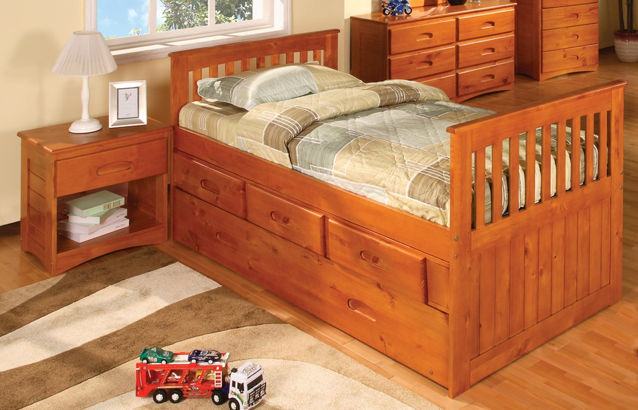 Twin Rake Bed with 12 Drawers, Desk, Hutch, Chair and Entertainment Dresser in Honey Finish