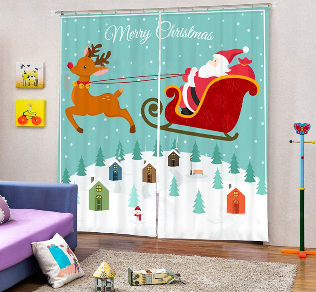 Christmas Decor Curtain Drapes by LB, Cartoon Design Santa Claus Drive Reindeer , Bedroom Living Dining Kids Girls Boys Room Curtain, 80x95 Inches (2 Panels Set Size) , Green White