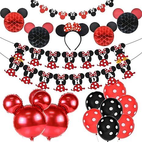 Artículos para la fiesta de Minnie Mouse Decoraciones de cumpleaños Rojo y negro para niñas, Cinta para la oreja, Banner de feliz cumpleaños y ...