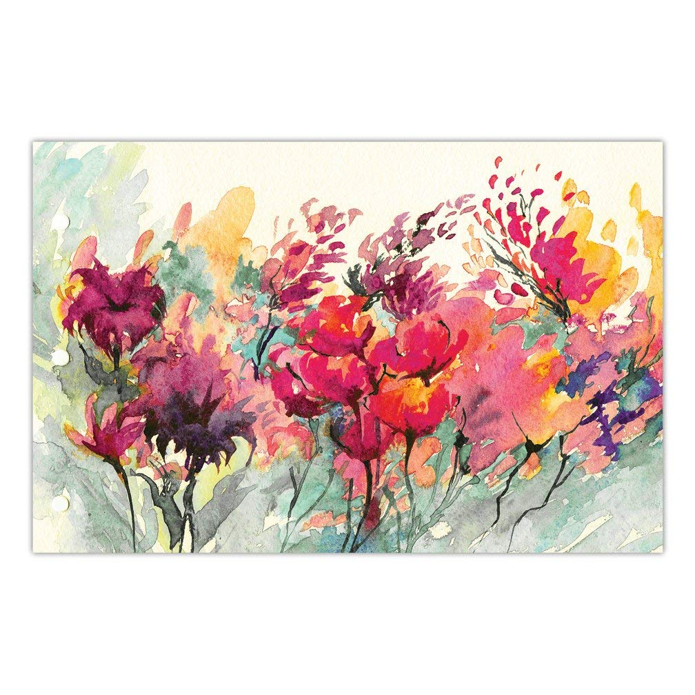 """DB Party Studio Paper Table Placemats 25 Pack Gorgeous Watercolor Floral Blooms Disposable Place Mats Bridal Shower Graduation Engagement Parties Event Supplies Kitchen Dining Seating Decor 17"""" x 11"""""""