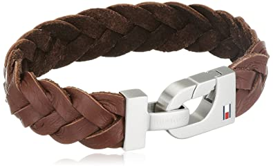 7670a7a96ed05 Tommy Hilfiger Men's Brushed Stainless-Steel and Brown Thick Braided  Leather Bracelet