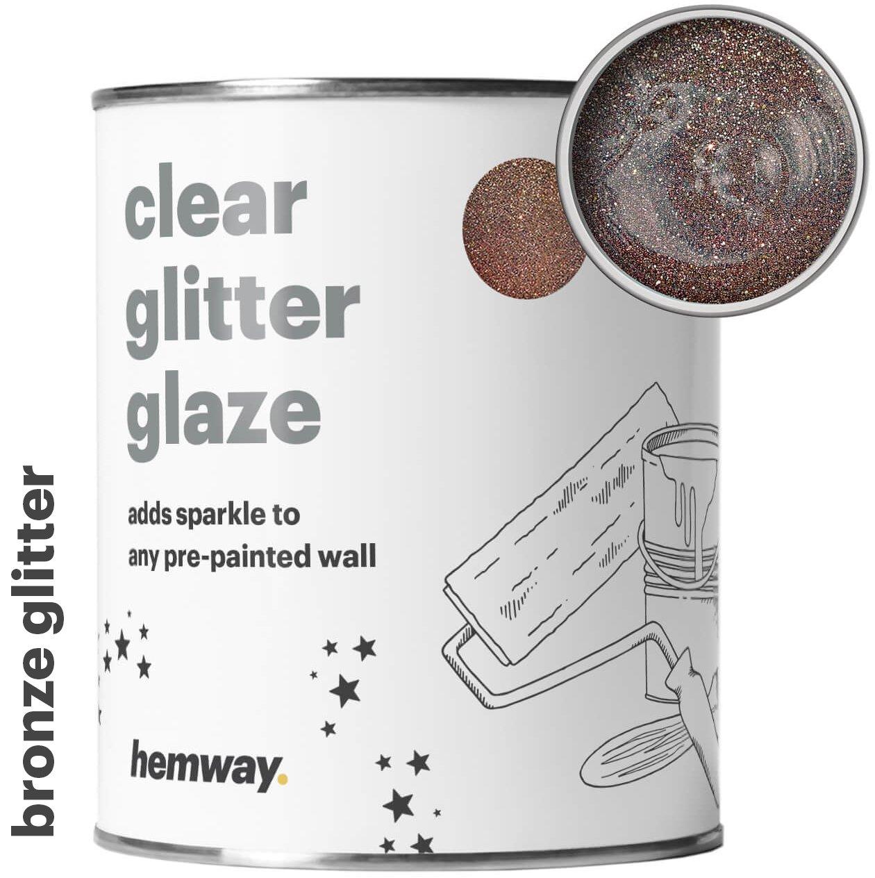 Hemway Clear Glitter Paint Glaze (Bronze) 1L/Quart for Pre-Painted Walls Acrylic, Latex, Emulsion, Ceiling, Wood, Varnish, Dead flat, Matte, Soft Sheen, Silk (CHOICE OF 25 GLITTER COLOURS)