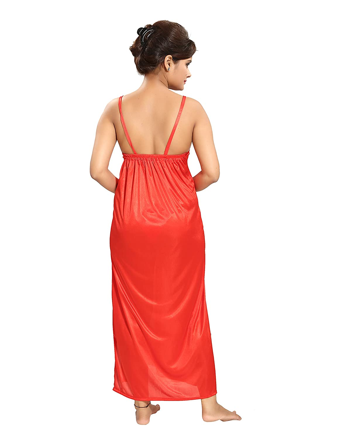 dc0c8cb39c TUCUTE Women's Satin Nighty - 4 Pc Set- Nighty/Robe/Top/Bottoms (Red)  D.No.1165: Amazon.in: Clothing & Accessories