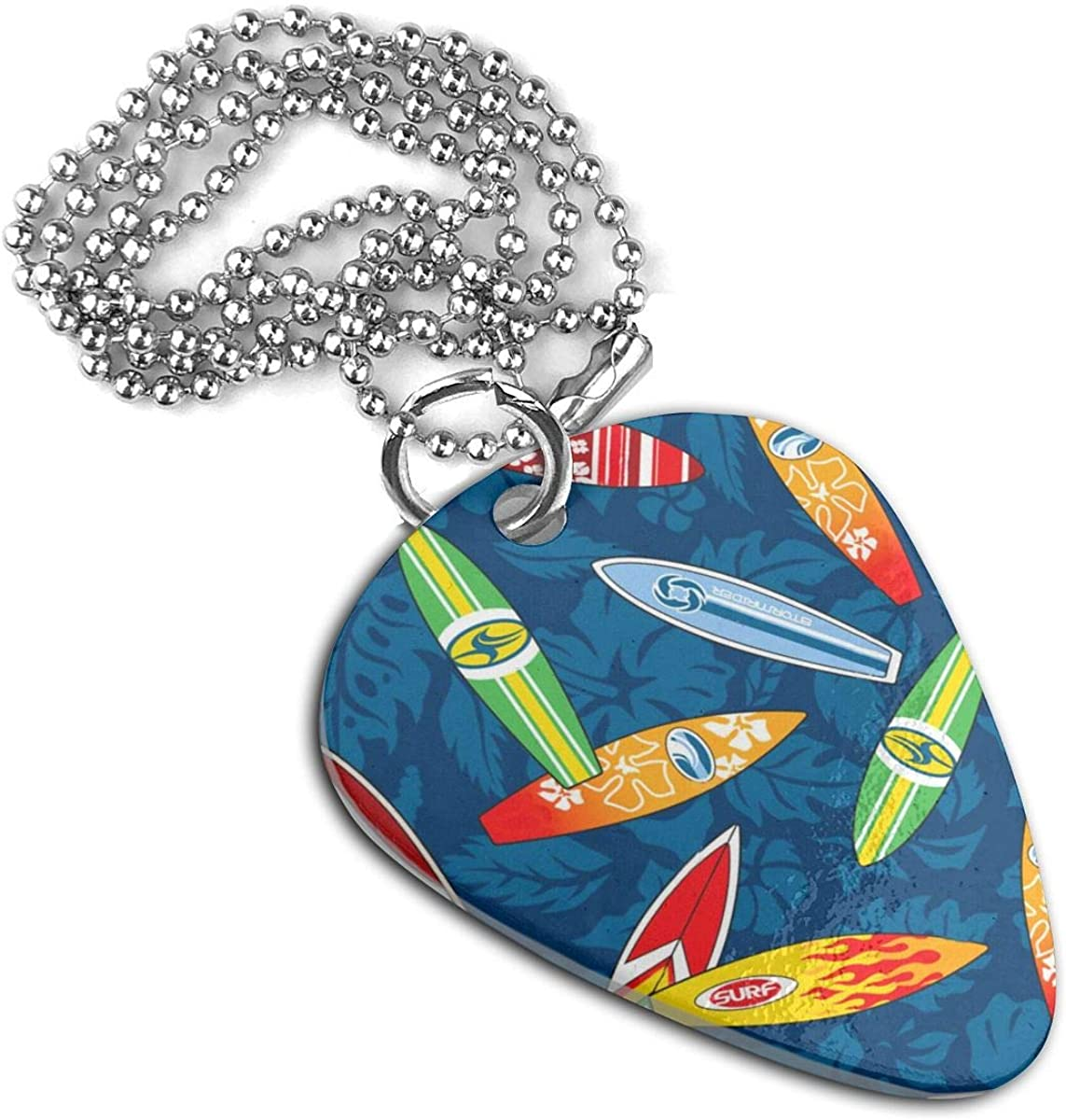 Surfboard Hibiscus Floral Custom Guitar Pick Pendant Necklace Keychain